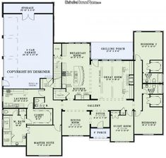 House Plan #0261061 - Valencia - I would LOVE to have this house. Love each bedroom has its own bath and a walk in closet. Would use the guest room as play/school room. Probably don't need 3 car garage, but would be nice to have the extra room in the garage though. Don't need the stairs so the kitchen would be a little bigger.