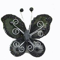 10PCS Organza Wire Rhinestone Butterfly / WIRED MESH BUTTERFLY - EMBELLISHMENTS GLITTER CRAFT BOWS WITH RHINESTONES