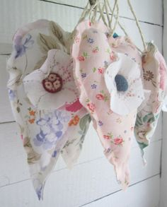Decorative soft heart set of 3 in flowery vintage by poppyshome, $20.00