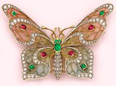Art Nouveau Plique-a-Jour Enamel, Diamond, Emerald, Ruby And Gold Butterfly Brooch - French: