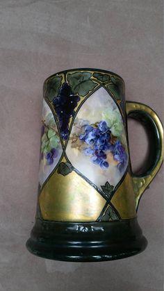Antique Limoges France Porcelain Tankard Gold Iridescence