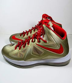 3265036c033 Nike Lebron James X 10 Heat Home Gold With Red Lazes Customize Size M-W in  Clothing