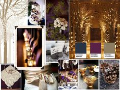 THIS!! Rustic Autumn Nights : PANTONE WEDDING Styleboard : The Dessy Group  (Midnight, Wild Berry, Antique Gold)
