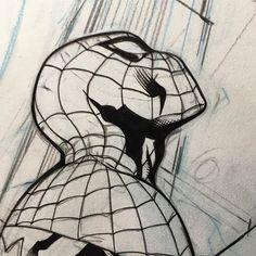 Spider-Man by Rachel and Terry Dodson #spiderman #spidergwen #workinprogress #wip #marvel #coleraselightbluepencil #staedtlerhbpencil #terrydodson #pencils #racheldodsoninks #racheldodsoninking #racheldodson #inking #winsornewtonsablebrush