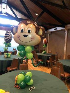 Fiesta Roberto Daniel y thiago Safari Theme Birthday, Jungle Theme Parties, Baby Boy 1st Birthday Party, Safari Party, Baby Party, Baby Shower Fun, Baby Shower Balloons, Safari Centerpieces, Baby Shower Decorations