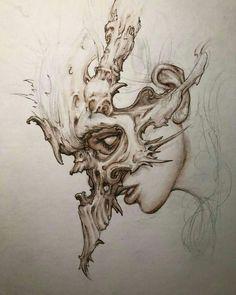 rusty, but finding some flow. Dark Art Drawings, Art Drawings Sketches, Tattoo Drawings, Arte Horror, Horror Art, Dark Tattoo, Creepy Art, Skull Art, Pencil Art