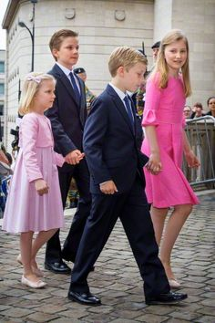 (L-R) Princess Eleonore, Prince Gabriel, Prince Emmanuel and Crown Princess Elisabeth of Belgium attend the Te Deum mass at the Cathedral of St. Michael and St. Gudula in Brussels, Belgium, 21 July 2015.