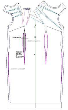 Neckline draped Dress, patterns instructions