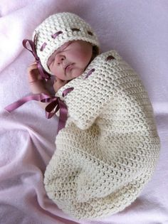 Crochet Baby Pattern - Natural Newborn Unisex Baby Hat with Button Stack and Snuggle Cocoon No.118
