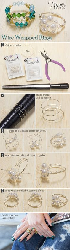 Anleitung Draht Ring mit Perlen biegen / Wire Wrapped Rings