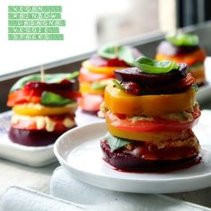 VEGAN RAINBOW LASAGNA VEGGIE STACKS - Click the pic for the recipe. REPIN AND SHARE IF YOU LIKE THIS!