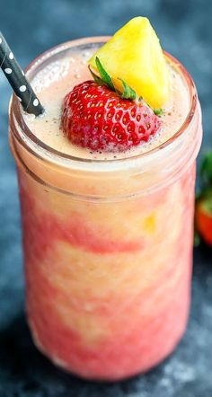 Beat the heat and embrace the chill with this Tropical Pineapple Strawberry Swirl Smoothie! Featuring swirls of pineapple and strawberry smoothie, this easy peasy recipe takes only a few minutes to make! Naturally sweet and oh so delicious! Apple Smoothies, Vegan Smoothies, Strawberry Smoothie, Smoothie Recipes, Smoothie Bowl, Salad Recipes, Healthy Waffles, Dairy Free Breakfasts, Scallop Recipes
