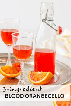 This beautiful blood orangecello is a fun twist on the classic limoncello. It's every bit as delicious as it is beautiful, and you only need three simple ingredients to pull it together.-Adapted from Annabel Langbein's Limoncello Fun Cocktails, Cocktail Drinks, Fun Drinks, Yummy Drinks, Cocktail Recipes, Beverages, Orange Cocktail, Sour Cocktail, Party Drinks