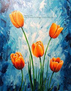 Original Painting Orange Tulips Acrylic Large Wall Art by artbyjae: