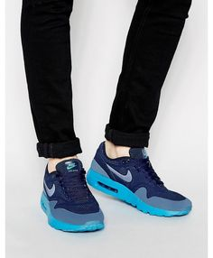 big sale b0b14 4d334 Nike Air Max 1 Ultra Moire Blue and Navy Trainers