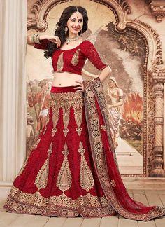 Splendid Maroon Net Wedding Lehenga Choli   Item Code: 6532