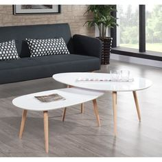 TABLE BASSE STONE Table basse scandinave 88x48 cm laquée Blanc