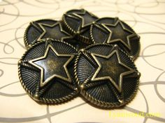 Items similar to Metal Buttons - Double Star Metal Buttons , Antique Brass Color , Shank , inch , 6 pcs on Etsy Star Buttons, Hobby Supplies, Double Deck, Shank Button, Craft Materials, Brass Color, Antique Brass, Stars, Antiques