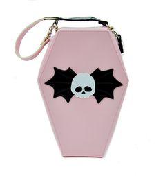 Amazon.com: Pink Coffin Shaped Bat Skull Purse Gothic Handbag: Clothing