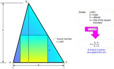 Problem 69. Square Inscribed in a Triangle, Altitude, Harmonic Mean