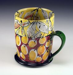Linda Arbuckle. 2008. Cup: Fruited Fall. Majolica on terracotta.