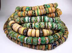 Antique Venetian  beads from the Africa trade circa late 1800's early 1800's from the collection of Carl Drebelis.