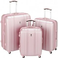 I pinned this Travel Concepts 3 Piece Salisbury Hardside Luggage Set in Dusty Pink from the Getaway Collection event at Joss and Main! Pink Suitcase, Pink Luggage, Cute Luggage, Travel Luggage, Travel Bags, Travel Suitcases, Luggage Rack, Talons Oranges, Hardside Luggage Sets