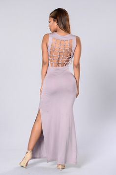 - Available in Mauve - Sleeveless - Maxi Dress - Cage Back Detail - Double Slit - Made in USA - 95% Rayon 5% Spandex
