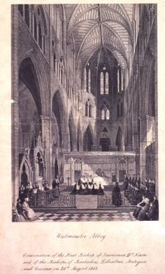 1065 – Westminster Abbey is consecrated.   ... , Antigua and Guiana on 24th August 1842 in Westminster Abbey.jpg