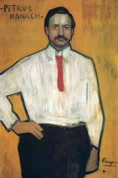 Portrait of Petrus Manach     Artist: Pablo Picasso  Completion Date: 1901  Style: Art Nouveau (Modern)  Period: Early Years  Genre: portrait  Technique: oil  Material: canvas  Dimensions: 100.5 x 67.5 cm  Gallery: National Gallery of Art, Washington DC, USA
