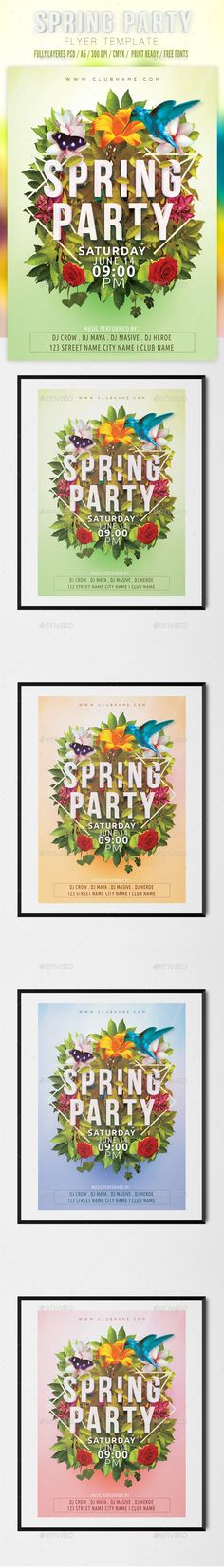 Spring Party Flyer Template (JPG Image, CS, 6.0x8.5, a5, advertisement, celebration, colorful, disco, dj, event, festival, flower, flyer, green, holiday, modern, music, night club, party, poster, print, psd, spring break, spring time, sun, template)