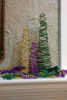 Mardi Gras Tree Set - Purple, Green & Gold Wire Tree Set Decoration - Mardi Gras Decoration