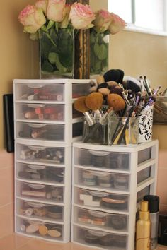 This is about how many containers I need for my makeup but don't have enough space in my room ! :(
