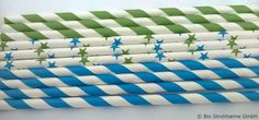 Papiertrinkhalm Streifen bayrisch blau+apfelgrün und Sterne blau-grün