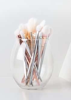 Metallic makeup brushes