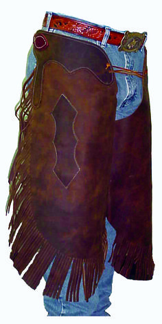 Western Saddles & Tack Western White Top Grain Leather Softy 100 % Leather Chaps with Filigree:BLKGrey
