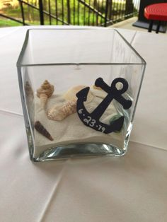 nautical table centerpiece with wedding date anchor www.thefinaltouchevents.com