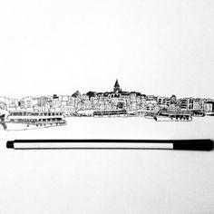 Instagram media by atakan_art - renklendirmeden önce #galata #kulesi #vapur #çizim #draw #drawing #art #istanbul