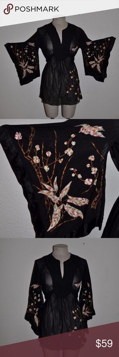 EXPRESS Sheer Embroidered Kimono Blouse Tunic sz M size M bust 38 length 27 sleeve 19  - sheer nylon - embroidered - split neck - kimono sleeves - satin piping - attached tie belt  condition: excellent @cjrose25 Express Tops Blouses