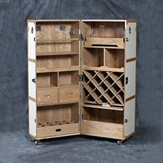 Vintage Steamer Trunk Style Folding Drinks Cabinet L8: Amazon.co.uk: Kitchen & Home