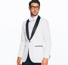 Traje esmoquin blanco para hombre de lana desgaste novio bleed trajes de  boda con cuello negro 8af13ef1dbc