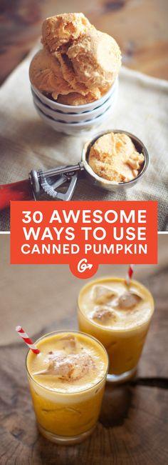 Pumpkin errrythang.  #healthy #pumpkin #recipes http://greatist.com/health/awesome-weird-healthy-recipes-canned-pumpkin