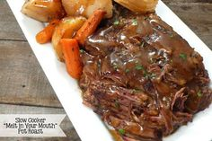 """Joyously Domestic: Slow Cooker """"Melt in Your Mouth"""" Pot Roast (no packets or canned soup) sweet Jesus this was good! This is the slow cooker pot roast recipe I have been waiting for - so tender and so much flavor! Pot Roast Recipes, Meat Recipes, Cooking Recipes, Healthy Recipes, Delicious Recipes, Healthy Fit, Simple Recipes, Recipes Dinner, Chicken Recipes"""