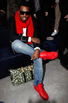 Kanye West to Balance Fatherhood With A. Collaboration - Kanye West to Balance Fatherhood With A. Collaboration – The Cut - Red Sneakers Outfit, Sneakers Paris, Rapper Outfits, Girl Outfits, Georgia, Kanye West Style, Atlanta, Louis Vuitton Shoes Sneakers, Running Shoes For Men