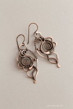 Wire wrap earrings, copper earrings