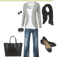 Blue Jeans, white t-shirt, cardigan with jewelery. skip the scarf and wear different shoes. add a fun pattern purse, then this would be perfect for me!