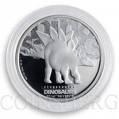Tuvalu 5 dollars Dinosaur Series Stegosaurus Silver Proof Coins 2 oz 2002