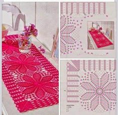 A to pech . Crochet Flower Squares, Free Crochet Doily Patterns, Crochet Placemats, Crochet Table Runner, Crochet Diagram, Crochet Doilies, Crochet Flowers, Crotchet Stitches, Thread Crochet