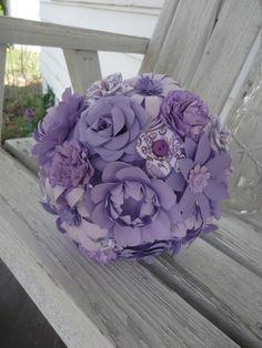 Paper flower wedding bridal bouquet, purple, mixed flowers, rose, peony, daisy, carnation $80
