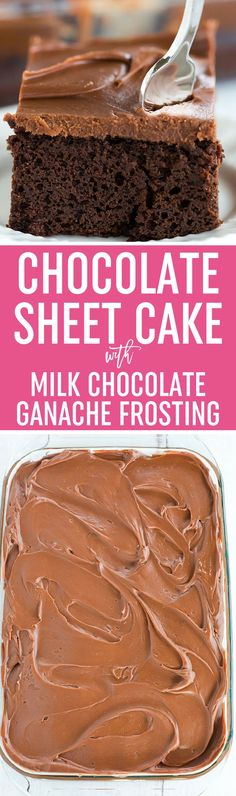 This fabulous chocolate sheet cake only requires one pot for mixing and is topped with the most amazing milk chocolate ganache frosting. via @browneyedbaker